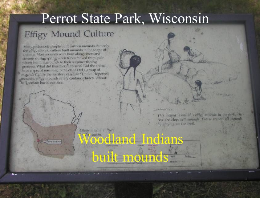 Woodland Indians built mounds Perrot State Park, Wisconsin