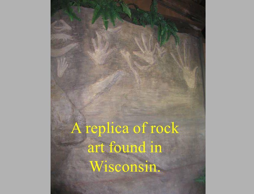A replica of rock art found in Wisconsin.