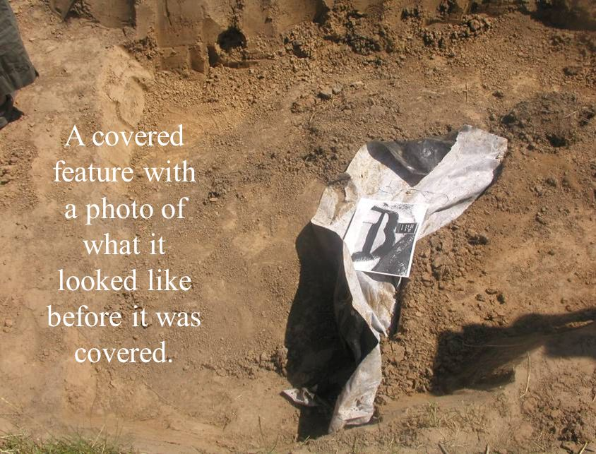 A covered feature with a photo of what it looked like before it was covered.