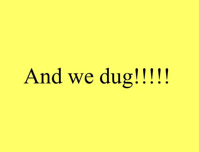 And we dug!!!!!