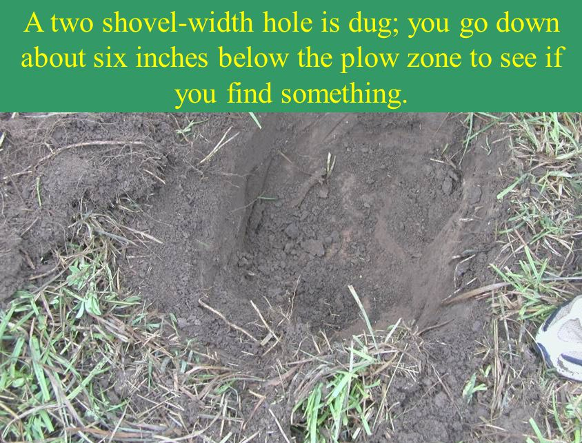 A two shovel-width hole is dug; you go down about six inches below the plow zone to see if you find something.