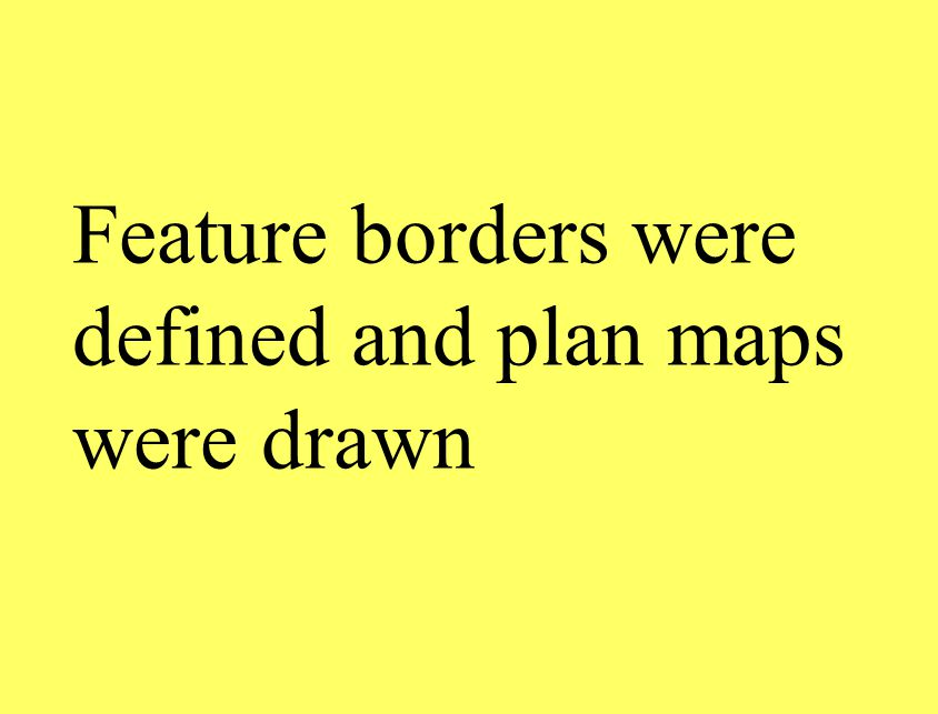 Feature borders were defined and plan maps were drawn