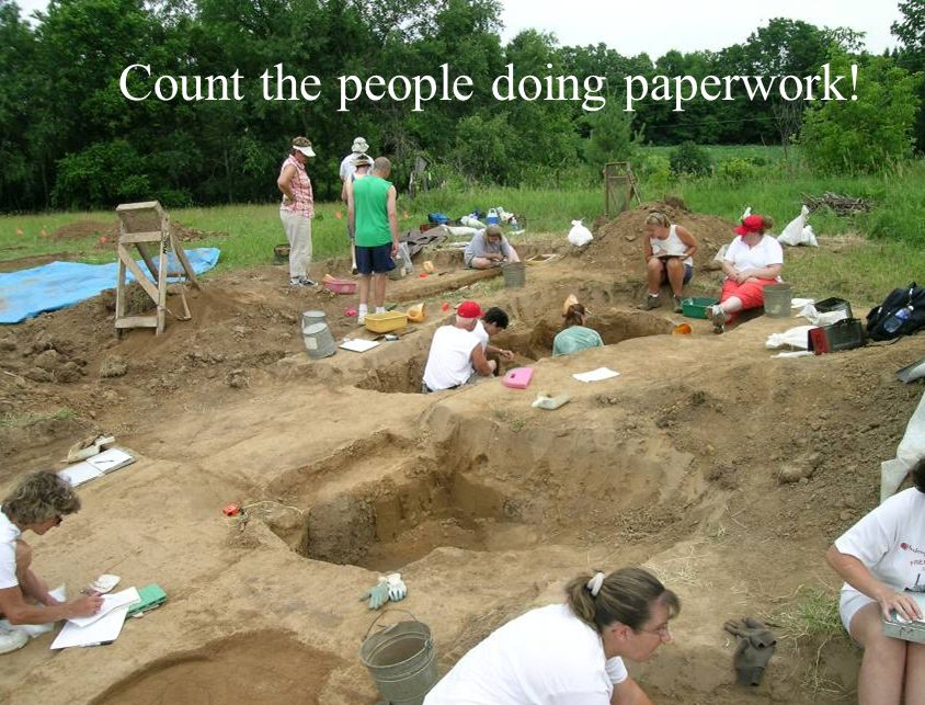 Count the people doing paperwork!