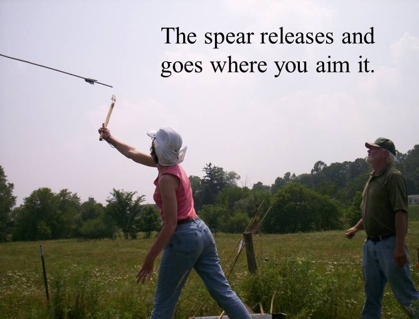 The spear releases and goes where you aim it.