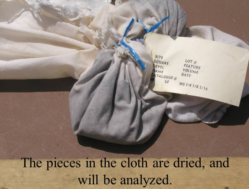 The pieces in the cloth are dried, and will be analyzed.