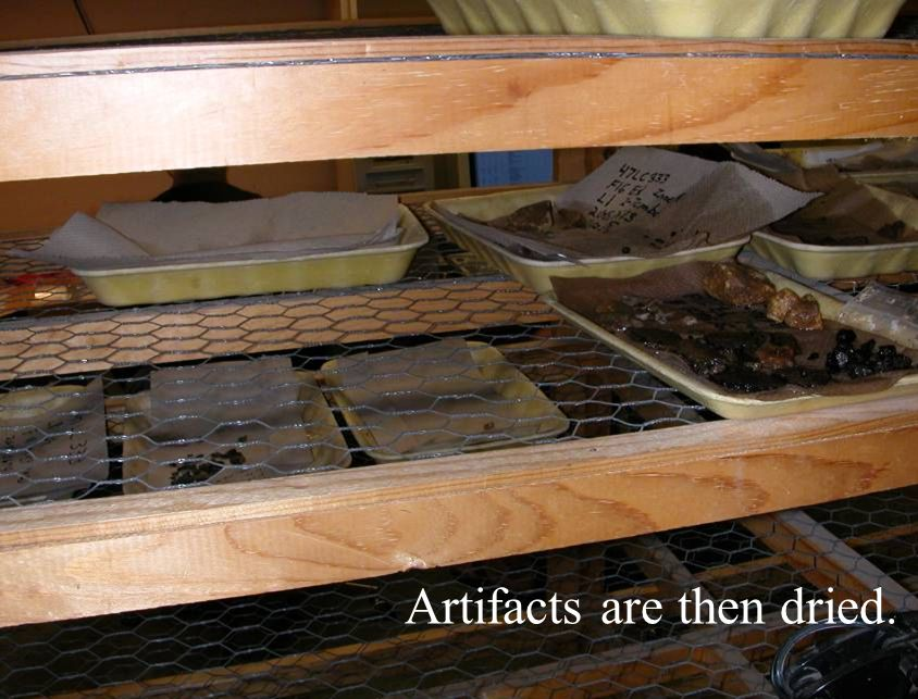 Artifacts are then dried.