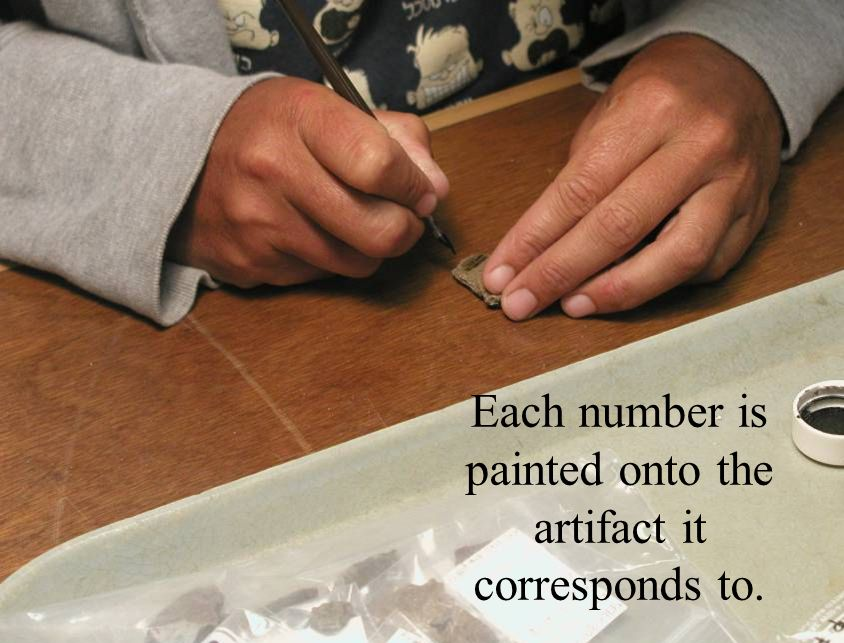 Each number is painted onto the artifact it corresponds to.