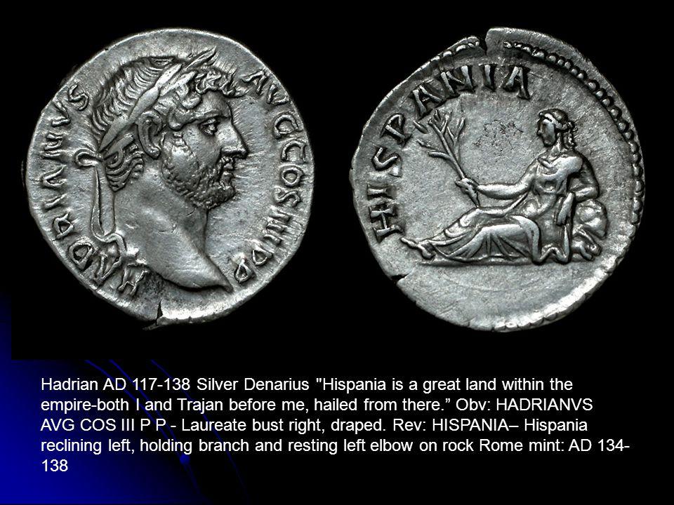 Hadrian AD 117-138 Silver Denarius