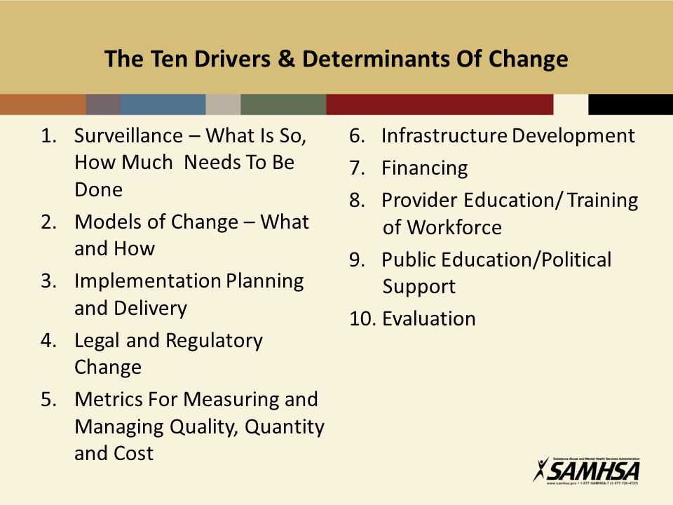 The Ten Drivers & Determinants Of Change 1.Surveillance – What Is So, How Much Needs To Be Done 2.Models of Change – What and How 3.Implementation Planning and Delivery 4.Legal and Regulatory Change 5.Metrics For Measuring and Managing Quality, Quantity and Cost 6.
