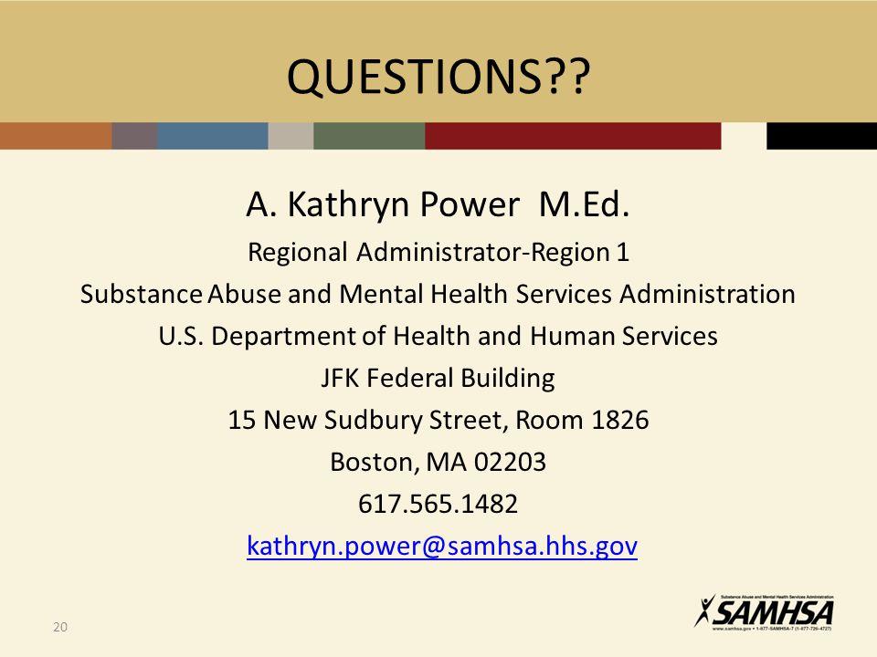 QUESTIONS?.A. Kathryn Power M.Ed.
