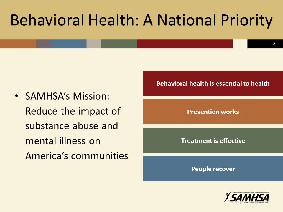 Behavioral Health: A National Priority SAMHSA's Mission: Reduce the impact of substance abuse and mental illness on America's communities Behavioral health is essential to health Treatment is effective Prevention works People recover 3