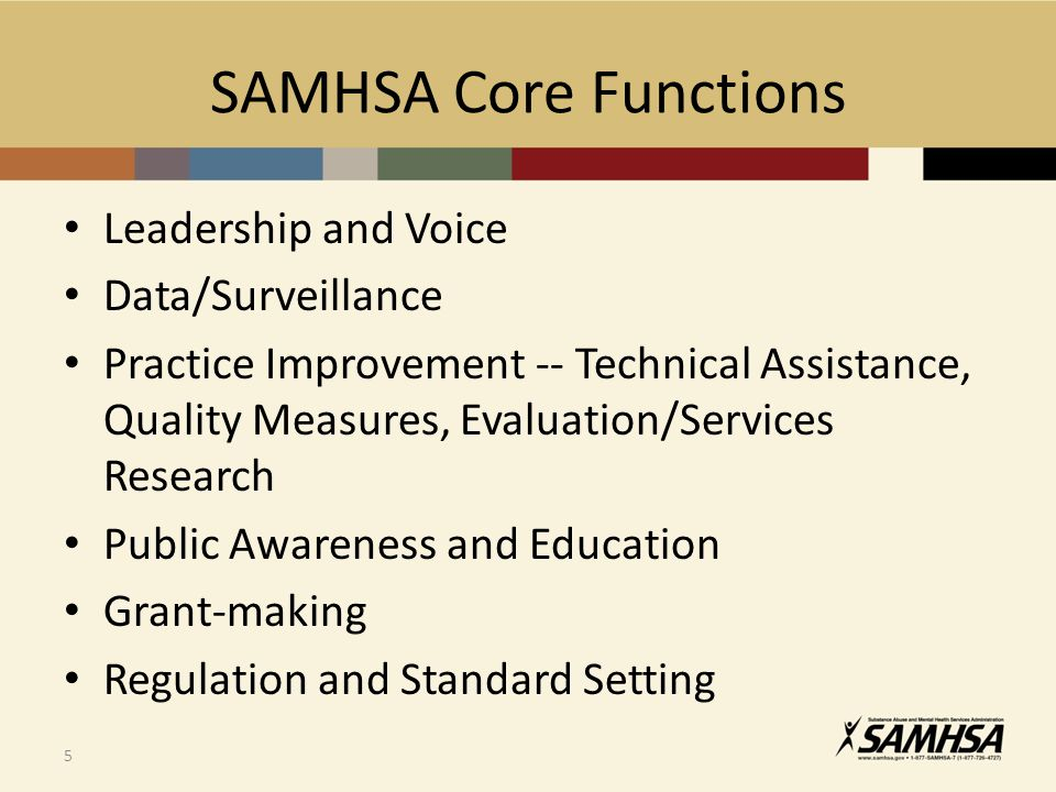 SAMHSA Core Functions Leadership and Voice Data/Surveillance Practice Improvement -- Technical Assistance, Quality Measures, Evaluation/Services Research Public Awareness and Education Grant-making Regulation and Standard Setting 5