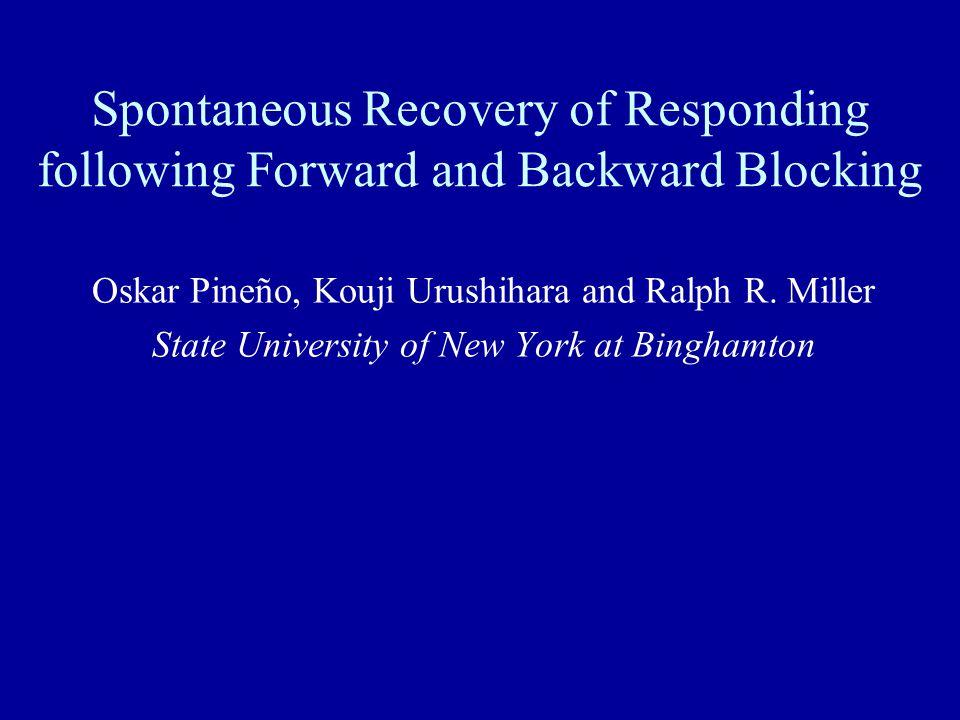 Spontaneous Recovery of Responding following Forward and Backward Blocking Oskar Pineño, Kouji Urushihara and Ralph R. Miller State University of New