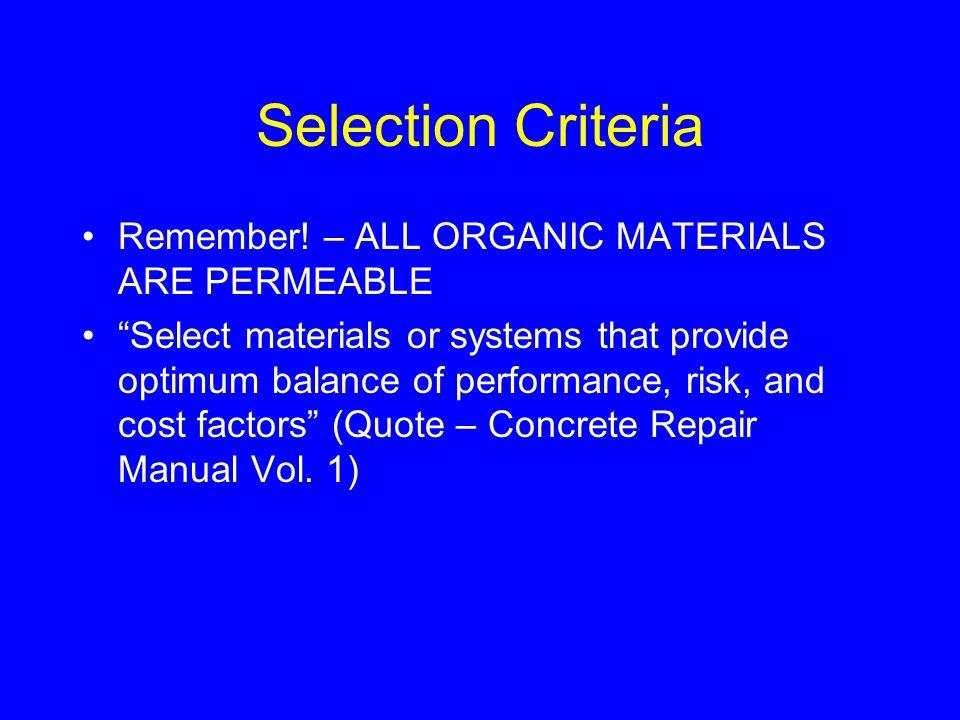 Selection Criteria Remember.