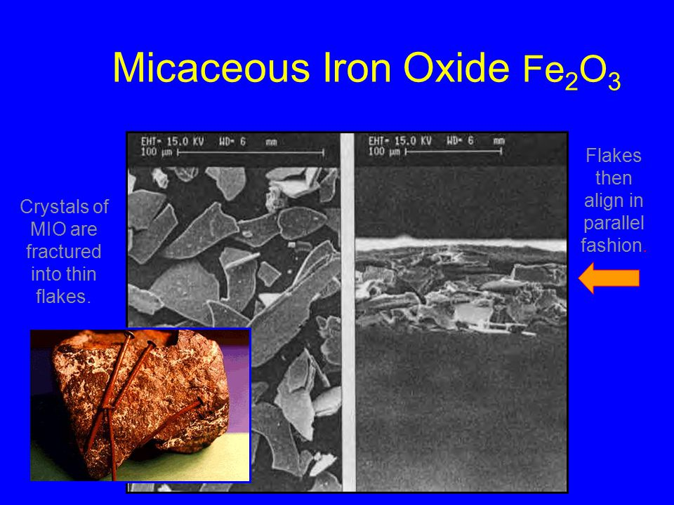 Micaceous Iron Oxide Fe 2 O 3 Crystals of MIO are fractured into thin flakes.