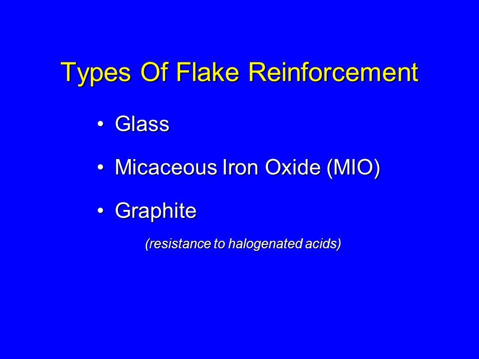 Types Of Flake Reinforcement GlassGlass Micaceous Iron Oxide (MIO)Micaceous Iron Oxide (MIO) GraphiteGraphite (resistance to halogenated acids)