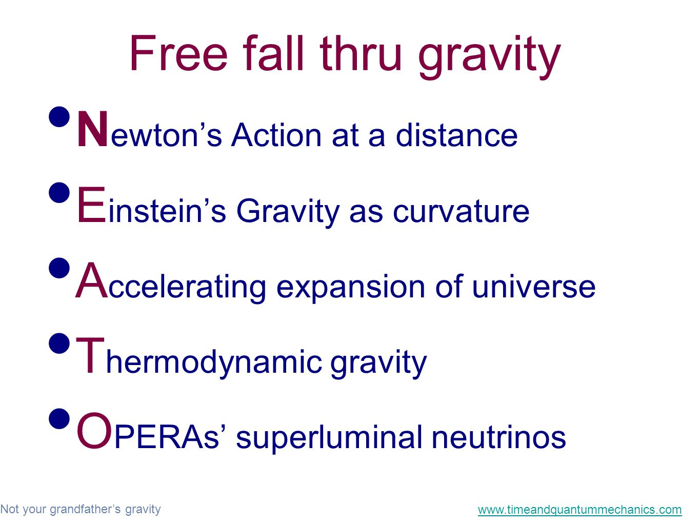 Not your grandfather's gravity www.timeandquantummechanics.com Free fall thru gravity N ewton's Action at a distance E instein's Gravity as curvature A ccelerating expansion of universe T hermodynamic gravity O PERAs' superluminal neutrinos