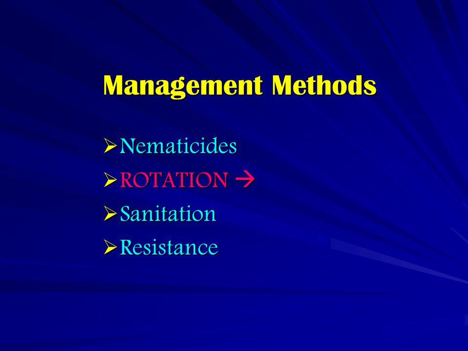 Management Methods  Nematicides  ROTATION   Sanitation  Resistance