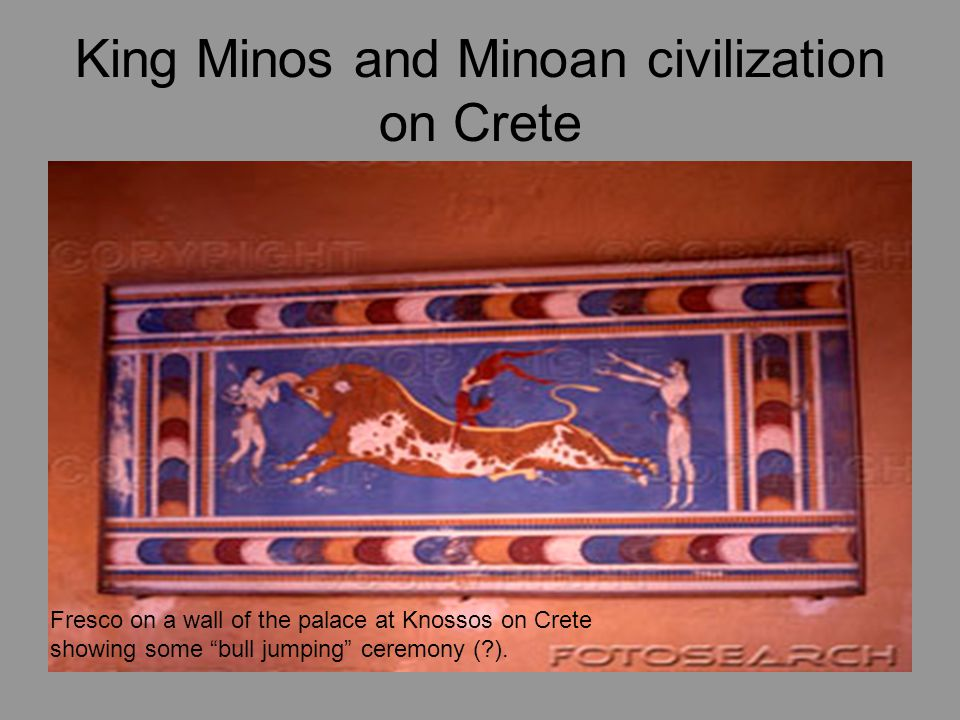 King Minos and Minoan civilization on Crete Fresco on a wall of the palace at Knossos on Crete showing some bull jumping ceremony (?).
