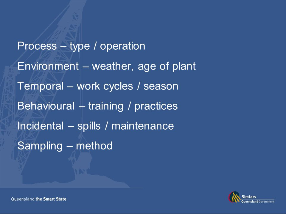 Process – type / operation Environment – weather, age of plant Temporal – work cycles / season Behavioural – training / practices Incidental – spills