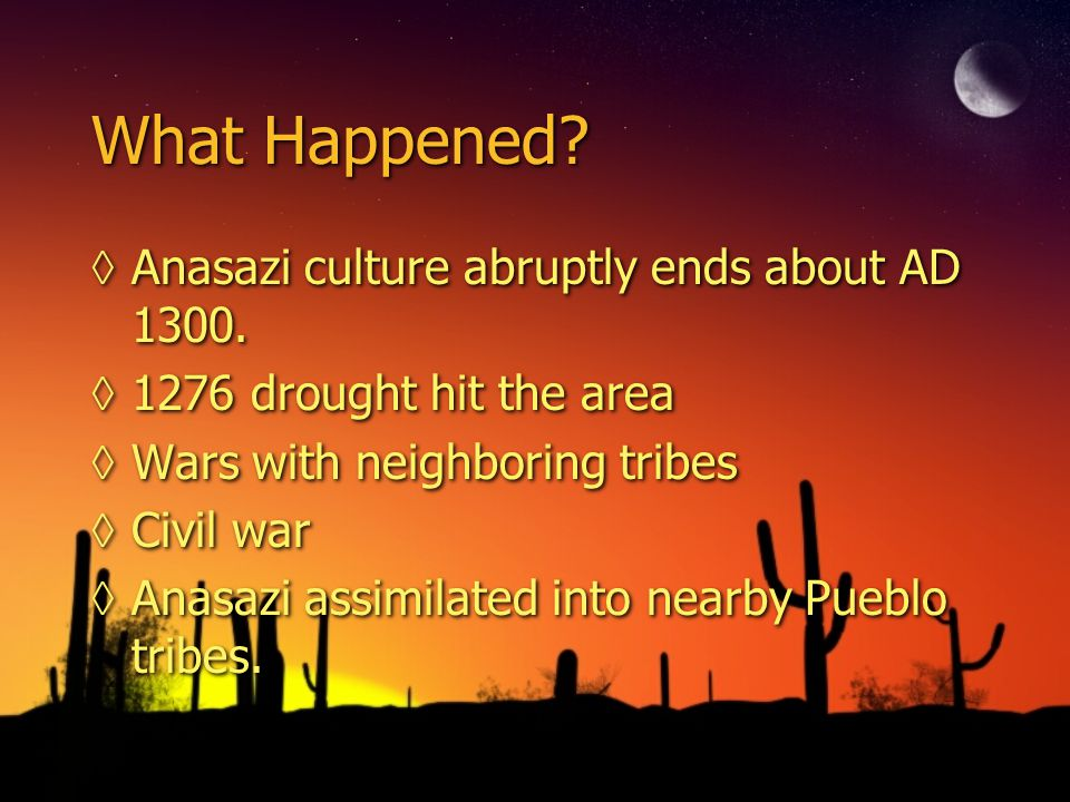 What Happened.◊Anasazi culture abruptly ends about AD 1300.