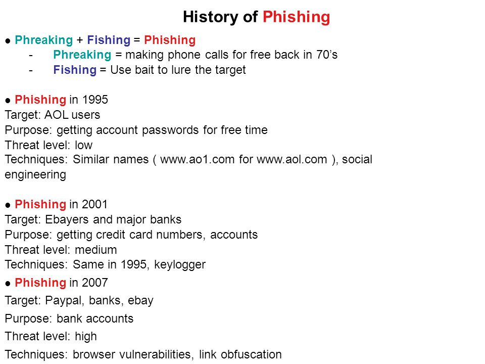 Phreaking + Fishing = Phishing -Phreaking = making phone calls for free back in 70's -Fishing = Use bait to lure the target Phishing in 1995 Target: AOL users Purpose: getting account passwords for free time Threat level: low Techniques: Similar names ( www.ao1.com for www.aol.com ), social engineering Phishing in 2001 Target: Ebayers and major banks Purpose: getting credit card numbers, accounts Threat level: medium Techniques: Same in 1995, keylogger Phishing in 2007 Target: Paypal, banks, ebay Purpose: bank accounts Threat level: high Techniques: browser vulnerabilities, link obfuscation History of Phishing