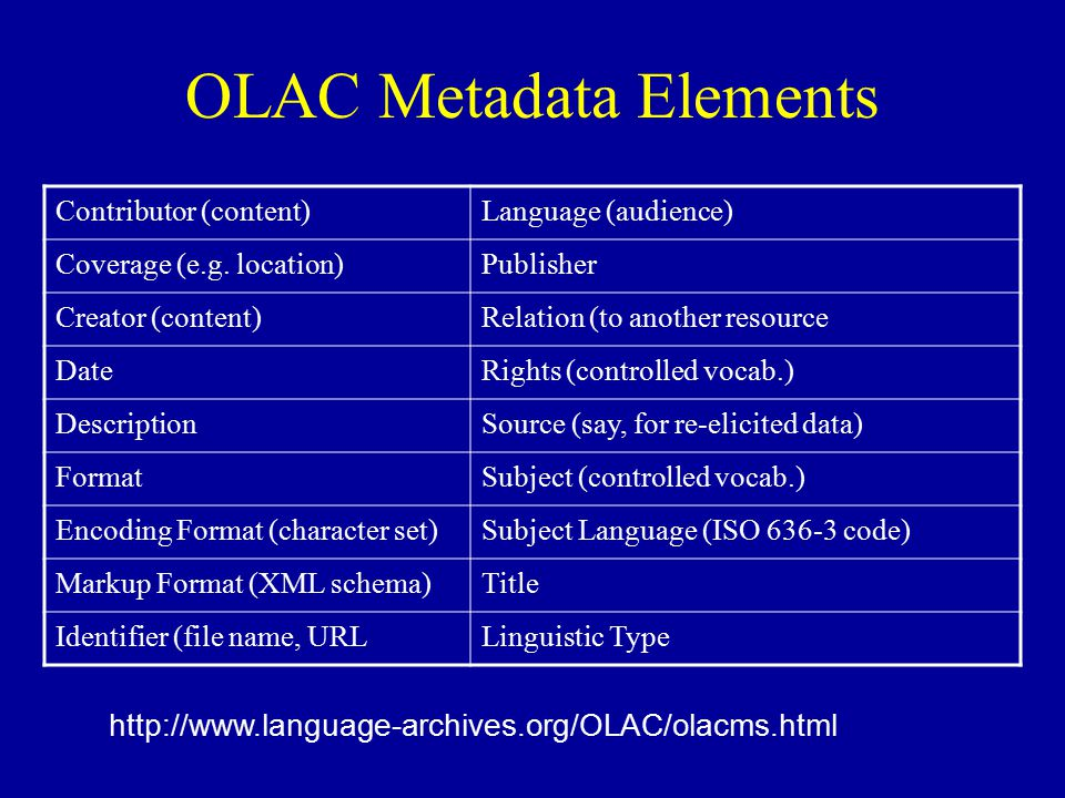 OLAC Metadata Elements Contributor (content)Language (audience) Coverage (e.g.