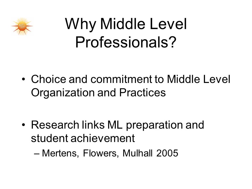 Why Middle Level Professionals.