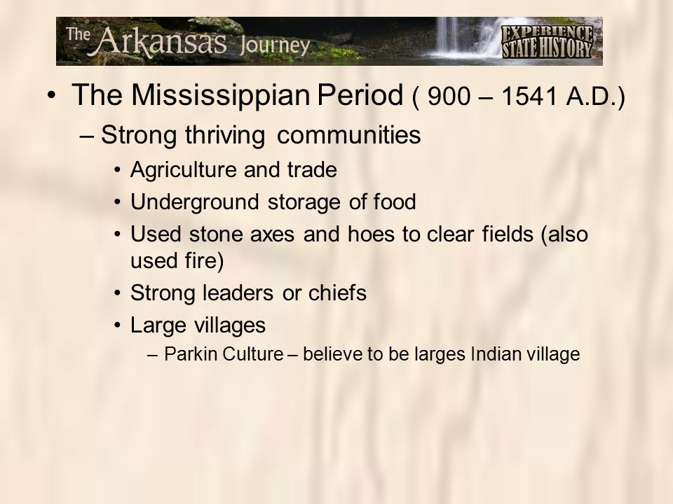 The Mississippian Period ( 900 – 1541 A.D.) –Strong thriving communities Agriculture and trade Underground storage of food Used stone axes and hoes to