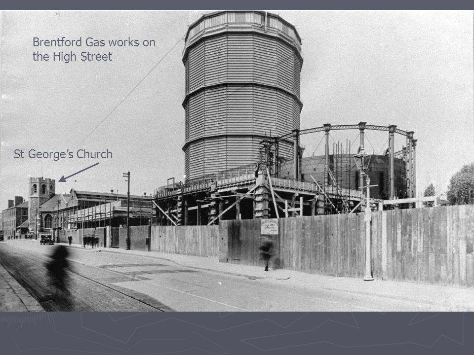 Brentford Gas works on the High Street St George's Church