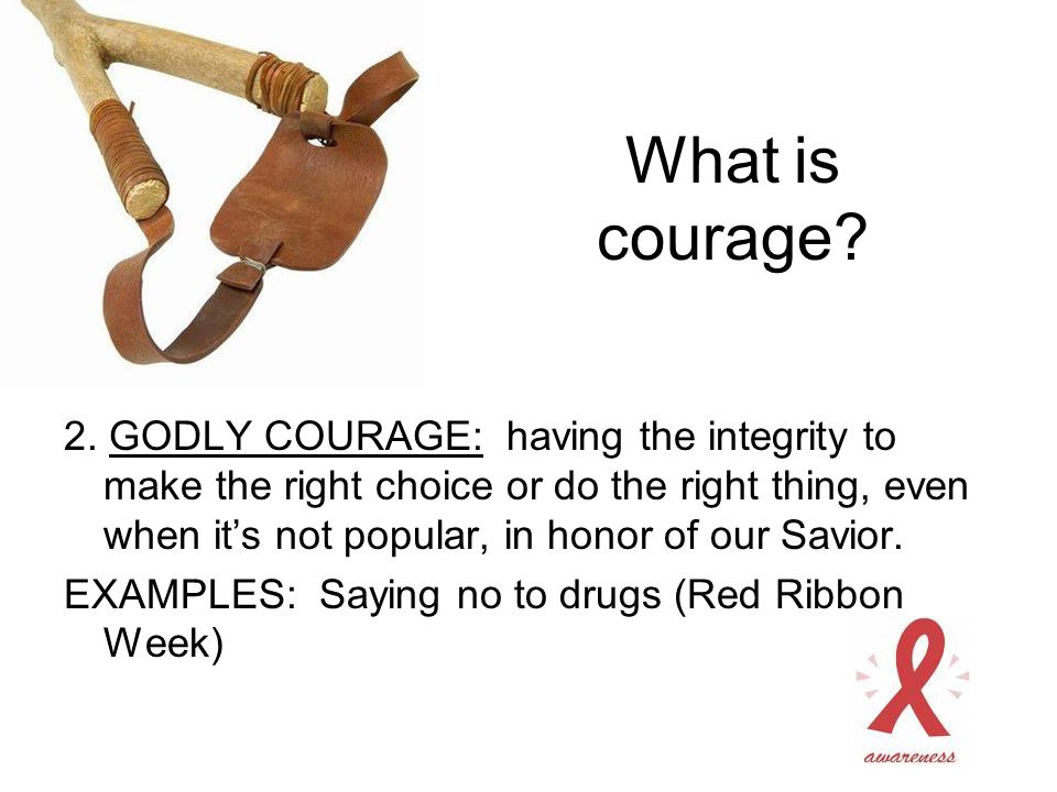 2. GODLY COURAGE: having the integrity to make the right choice or do the right thing, even when it's not popular, in honor of our Savior. EXAMPLES: S