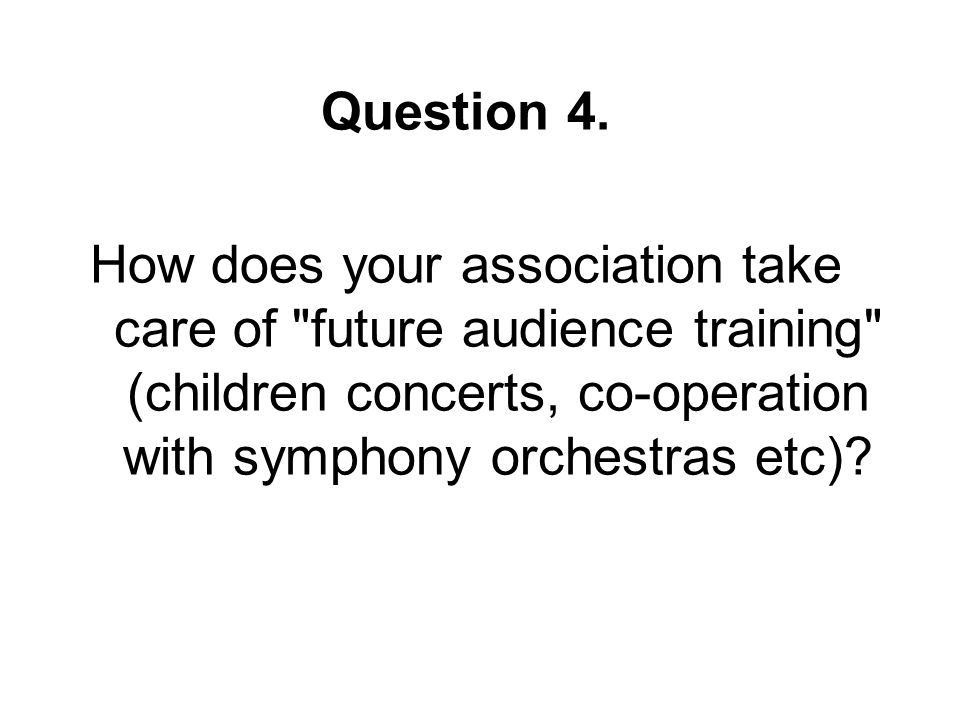 Question 4. How does your association take care of