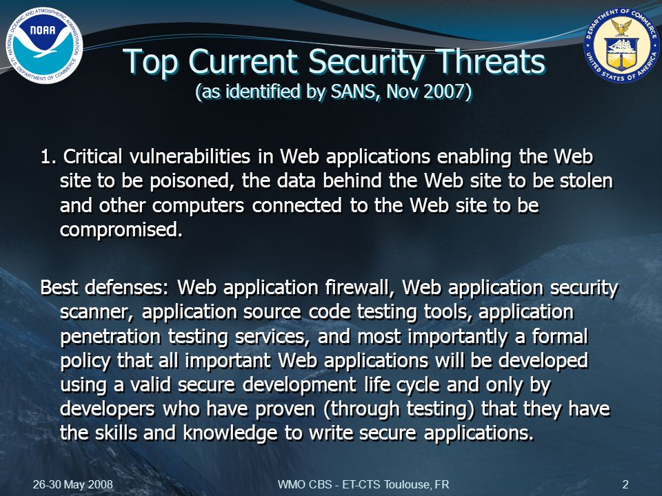 26-30 May 2008WMO CBS - ET-CTS Toulouse, FR2 Top Current Security Threats (as identified by SANS, Nov 2007) 1.