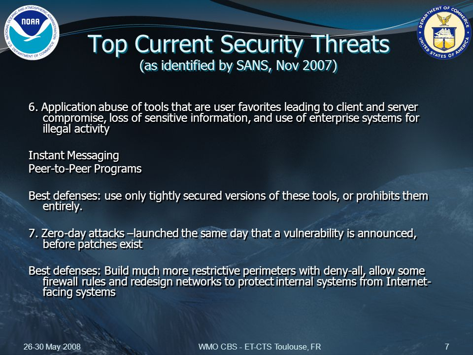 26-30 May 2008WMO CBS - ET-CTS Toulouse, FR7 Top Current Security Threats (as identified by SANS, Nov 2007) 6.