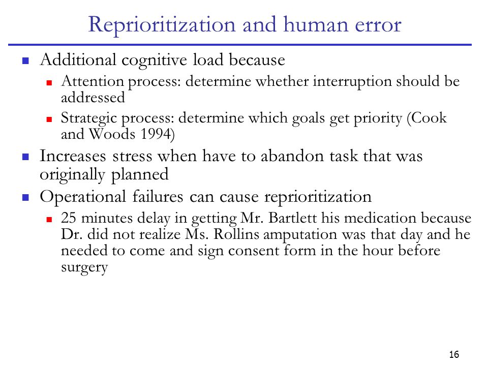 16 Reprioritization and human error Additional cognitive load because Attention process: determine whether interruption should be addressed Strategic