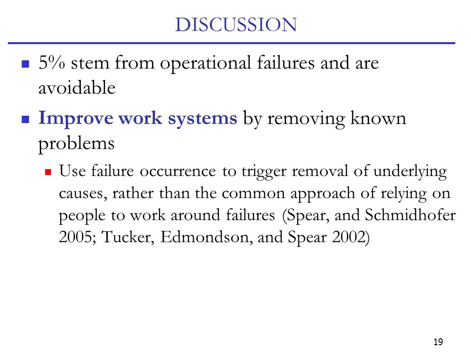 19 DISCUSSION 5% stem from operational failures and are avoidable Improve work systems by removing known problems Use failure occurrence to trigger re