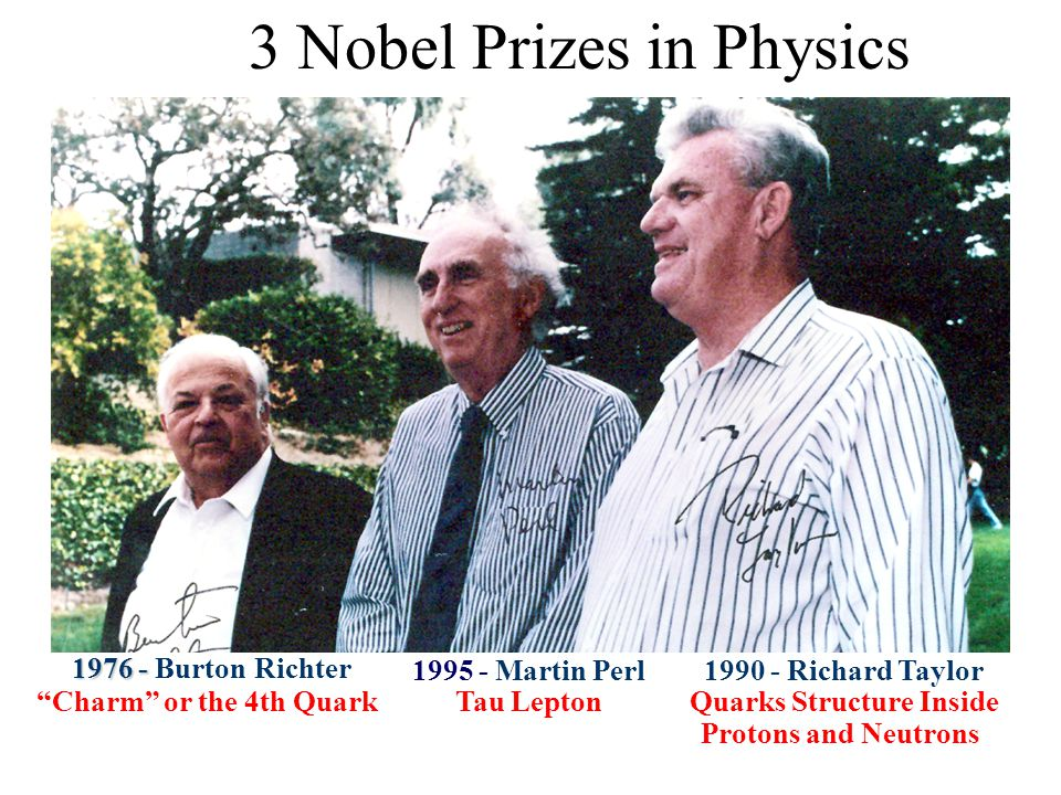  1976 -  1976 - Burton Richter  Charm or the 4th Quark  1990 - Richard Taylor  Quarks Structure Inside Protons and Neutrons  1995 - Martin Perl  Tau Lepton 3 Nobel Prizes in Physics