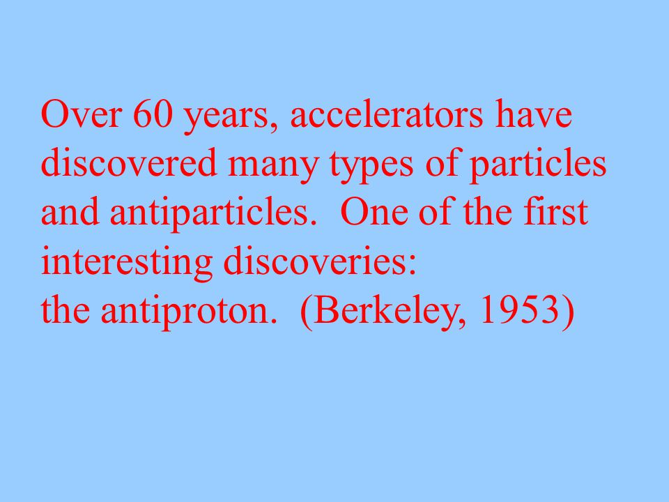 Over 60 years, accelerators have discovered many types of particles and antiparticles.