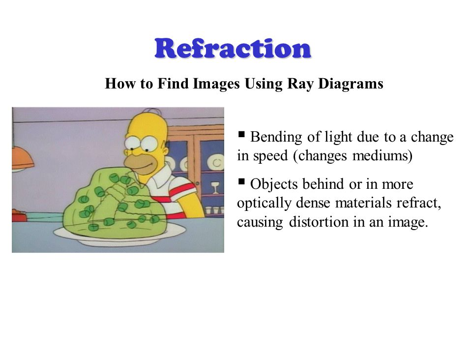 Refraction How to Find Images Using Ray Diagrams  Bending of light due to a change in speed (changes mediums)  Objects behind or in more optically dense materials refract, causing distortion in an image.