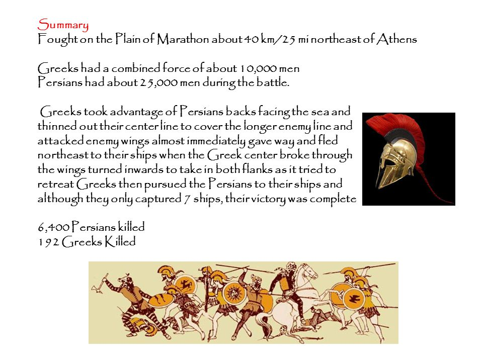 Summary Fought on the Plain of Marathon about 40 km/25 mi northeast of Athens Greeks had a combined force of about 10,000 men Persians had about 25,000 men during the battle.