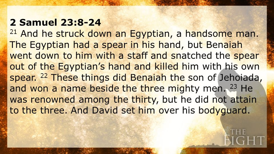 2 Samuel 23:8-24 21 And he struck down an Egyptian, a handsome man.