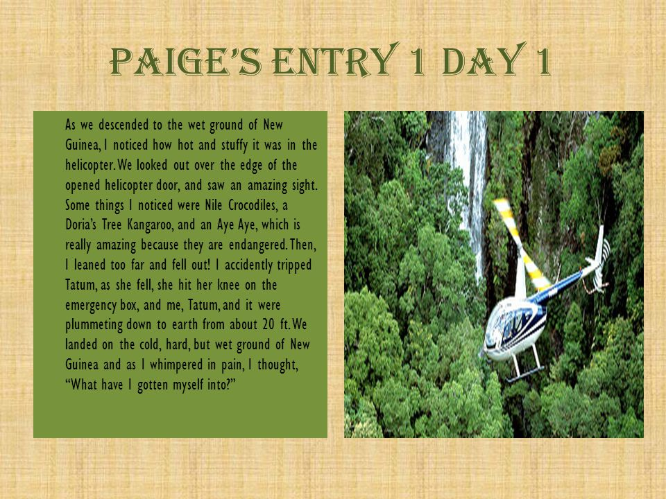 Paige's Entry 6 Day 5 afternoon Our stomach's felt emptier than mars, we hungrier than a grizzly bear in hibernation, our stomachs groaned louder than a Howler Monkey can screech.