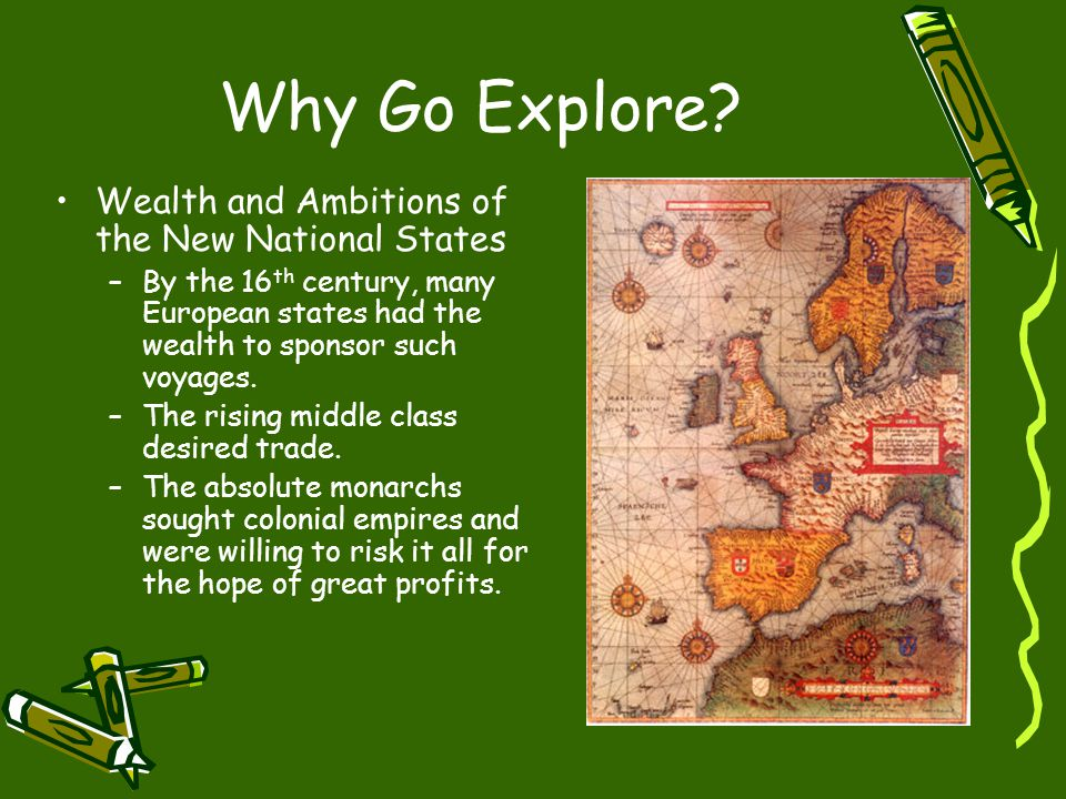 The Columbian Exchange The exchange of food, animals, and diseases from the Old World to the New (vice versa).