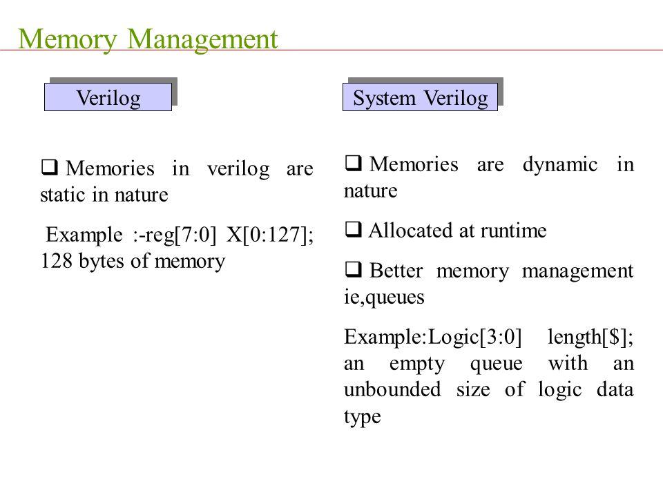 Memory Management  Memories in verilog are static in nature Example :-reg[7:0] X[0:127]; 128 bytes of memory  Memories are dynamic in nature  Alloc
