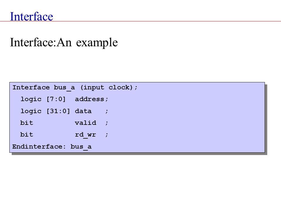 Interface Interface bus_a (input clock); logic [7:0] address; logic [31:0] data ; bit valid ; bit rd_wr ; Endinterface: bus_a Interface bus_a (input c