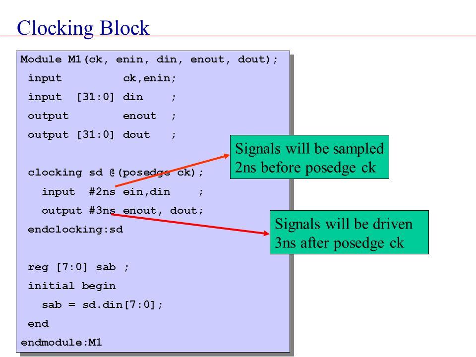 Clocking Block Module M1(ck, enin, din, enout, dout); input ck,enin; input [31:0] din ; output enout ; output [31:0] dout ; clocking sd @(posedge ck);