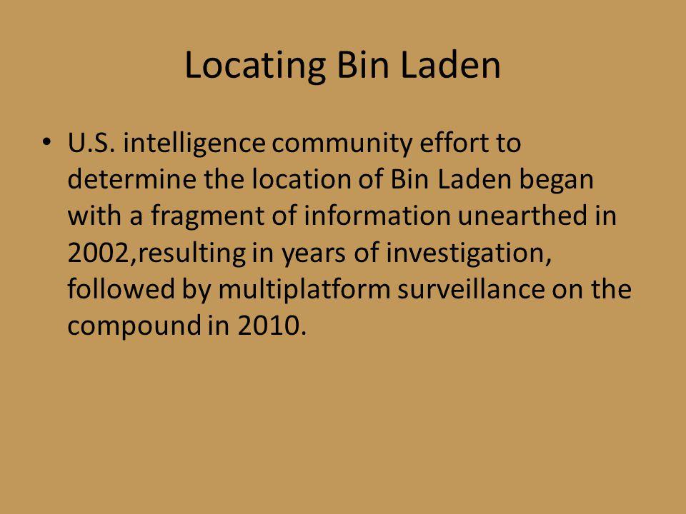 Locating Bin Laden U.S.