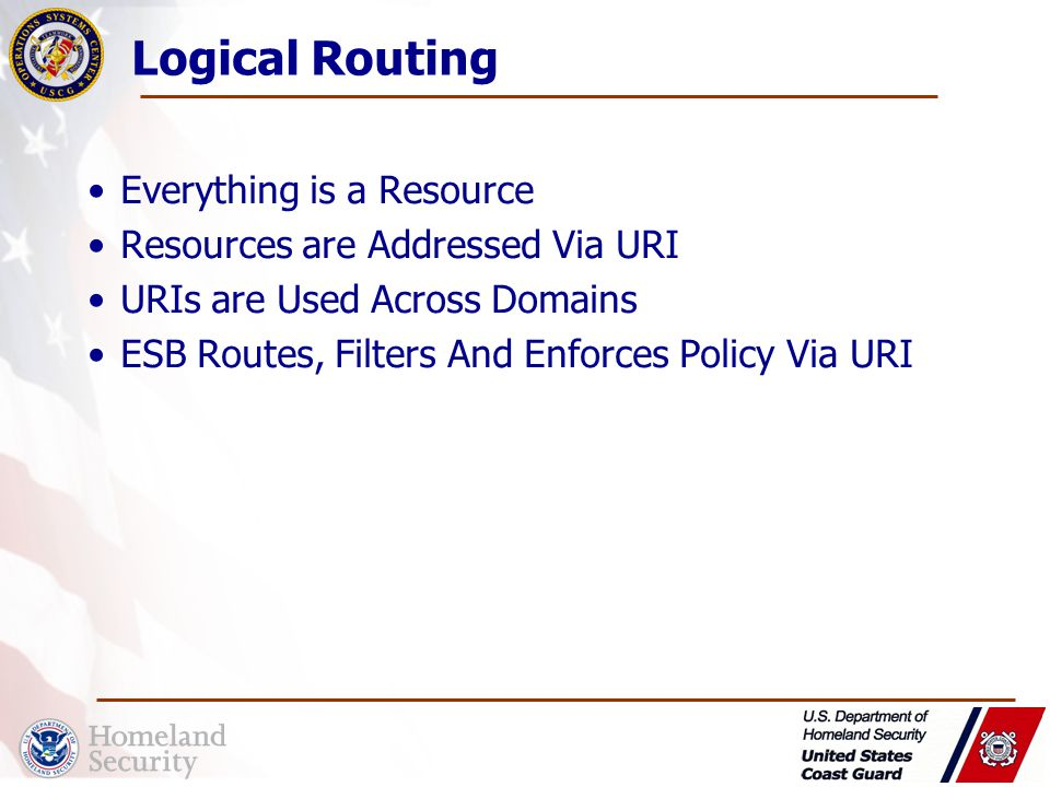 Logical Routing Everything is a Resource Resources are Addressed Via URI URIs are Used Across Domains ESB Routes, Filters And Enforces Policy Via URI