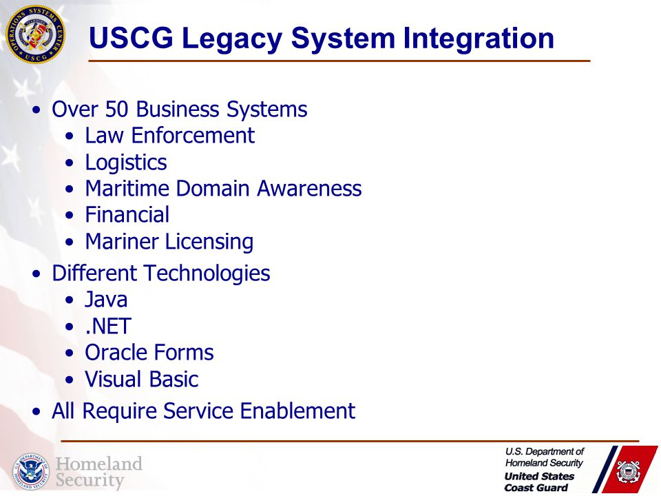 USCG Legacy System Integration Over 50 Business Systems Law Enforcement Logistics Maritime Domain Awareness Financial Mariner Licensing Different Technologies Java.NET Oracle Forms Visual Basic All Require Service Enablement