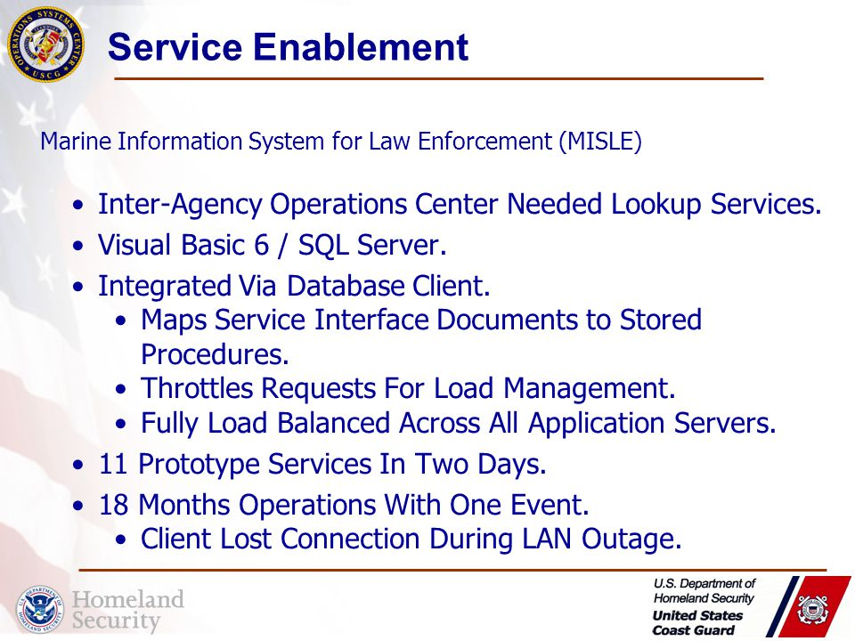 Service Enablement Inter-Agency Operations Center Needed Lookup Services.